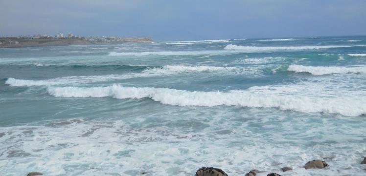 Baía com as bancadas de La Isla, Kon Tiki e Punta Rocas