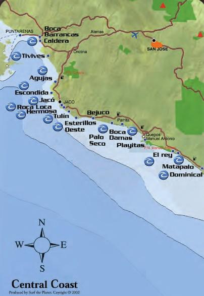 Picos de Surfe no Pacifico Central