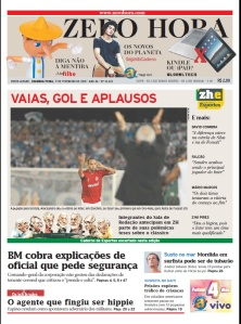 Capa da Zero Hora de 01/02/2010