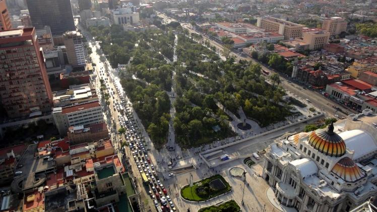 Vista da Alameda desde o Mirador Torre Latinoamericana