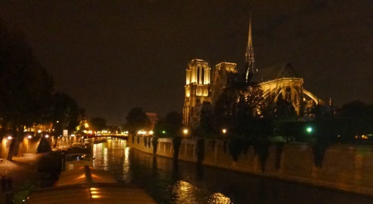 Rio Sena e Catedral de Notre Dame à noite