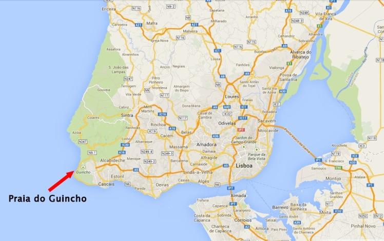 Localização da Praia do Guincho
