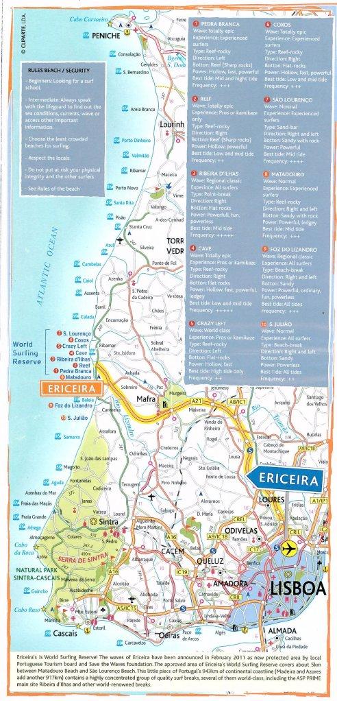 Mapa Turístico da Região de Ericeira - Descreve as características de algumas das principais ondas da região