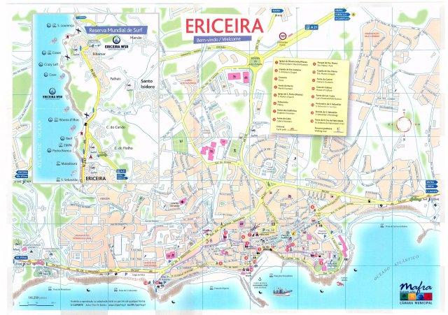 Mapa Turístico de Ericeira - Reserva Mundial de Surfe no detalhe