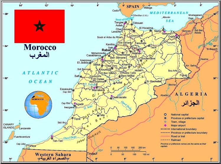 Mapa do Marrocos