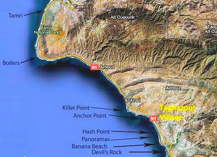 Taghazout - Surf Spots Map