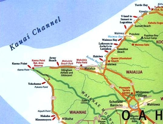 Kaena Point a Haleiwa - Surf Map