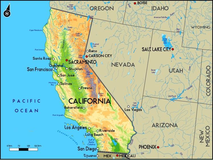 Mapa da Califórnia