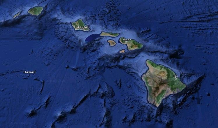 Arquipélago Havaiano em imagem de satélite