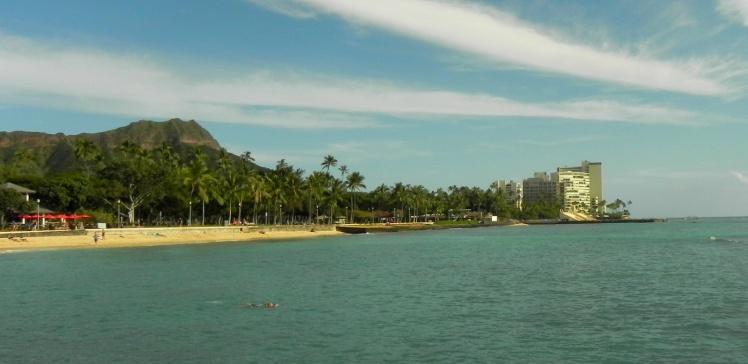 Waikiki e o vulcão Diamond Head ao fundo