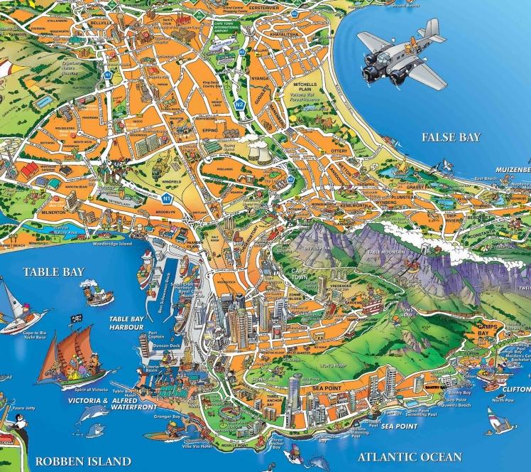 Mapa Turístico de Cape Town