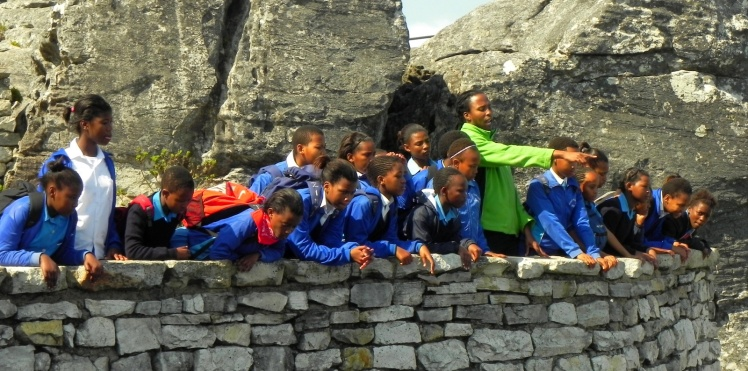 Estudantes na Table Mountain