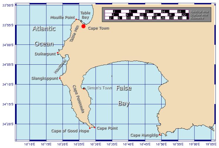 Mapa da península do Cabo da Boa Esperança